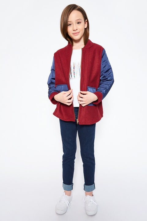 Two-Toned Bomber Jacket - Maroon