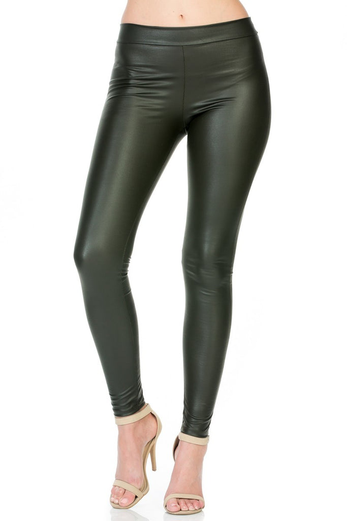 Faux Leather Leggings - Chive - Reservoir