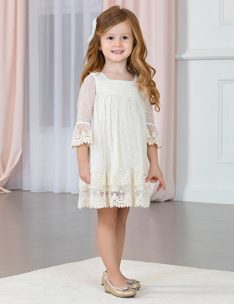 Abel and Lula Lace Trimmed Guipure Dress