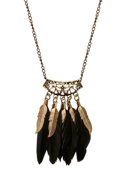 Black Feather Pendant Necklace - Truly Yours, Fashion