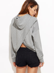 Drop Shoulder Tulip Back Hoodie - Truly Yours, Fashion