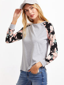 Floral Raglan Sleeve T-shirt - Truly Yours, Fashion