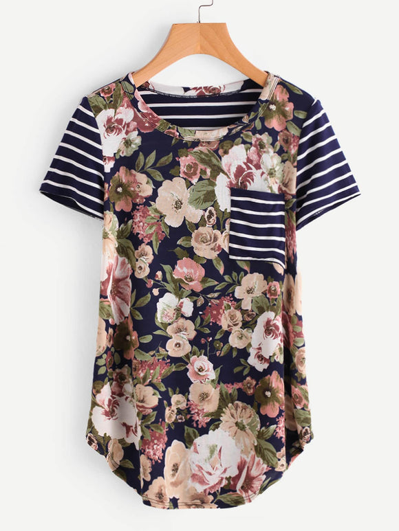 Curved Hem Striped Pocket Patch Floral Tee