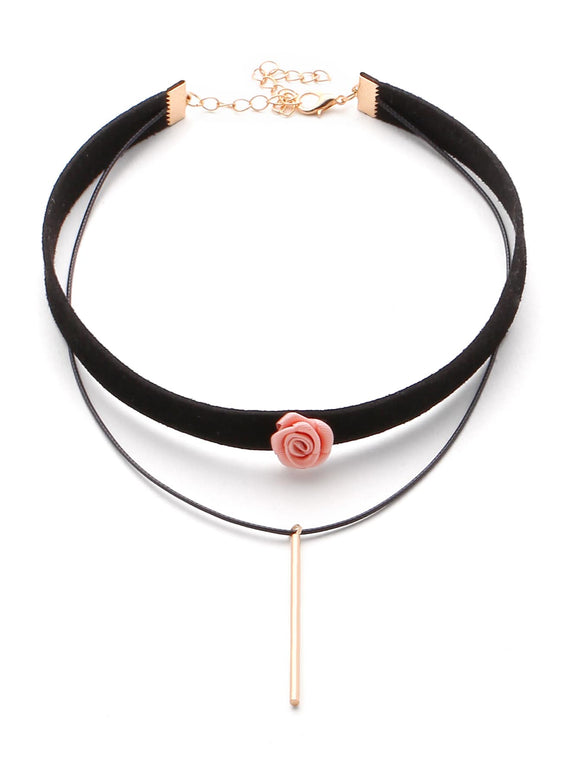 Bar And Flower Detail Layered Velvet Necklace - Truly Yours, Fashion