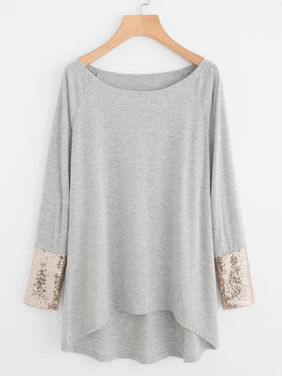 Contrast Sequin Cuff Dip Hem Tee - Truly Yours, Fashion