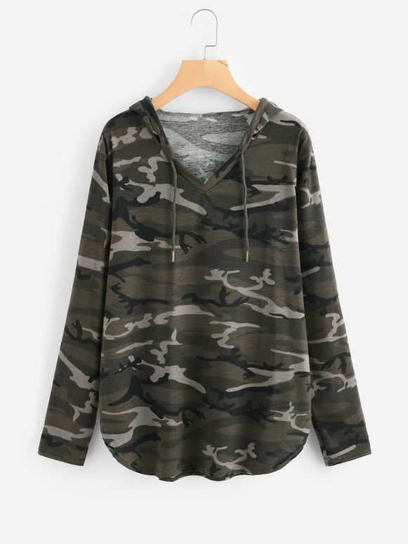 Curved Hem Camo Hooded Tee - Truly Yours, Fashion
