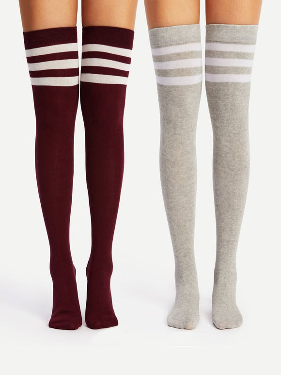 Striped Over The Knee Socks 2pairs - Truly Yours, Fashion