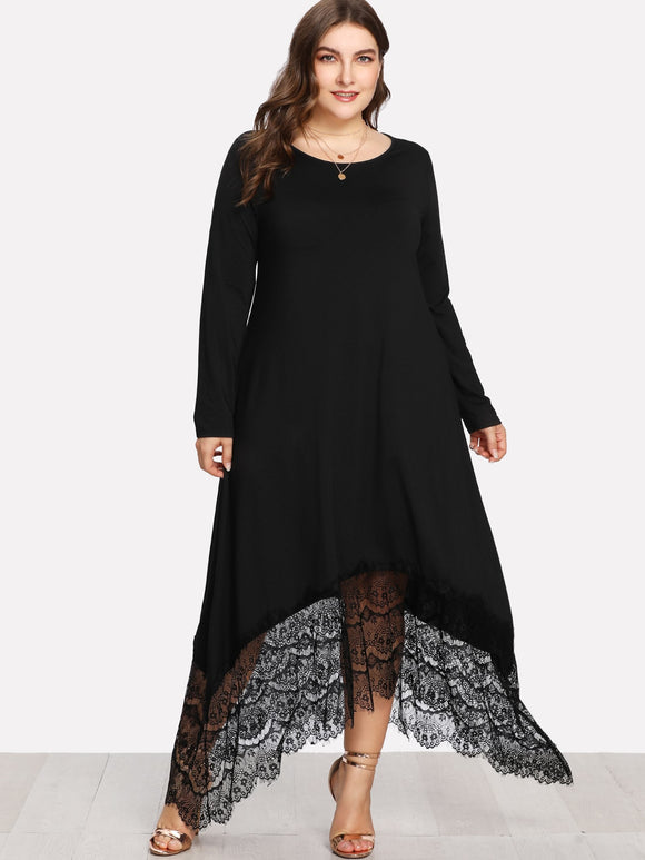 Plus Eyelash Lace Hem Asymmetric Dress
