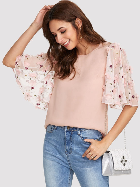 Floral Embroidery Flutter Sleeve Blouse - Truly Yours, Fashion