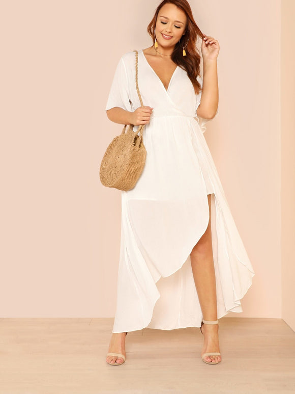 Plus Keyhole Back Surplice Wrap High Low Dress