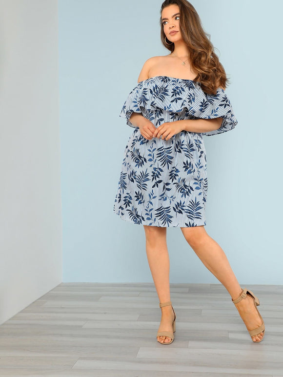 Plus Flounce Bardot Dress with Leaf Print and Stripes BLUE