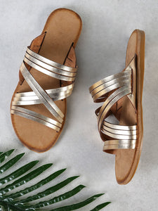 Criss Cross Strappy Band Slide Sandal GOLD - Truly Yours, Fashion