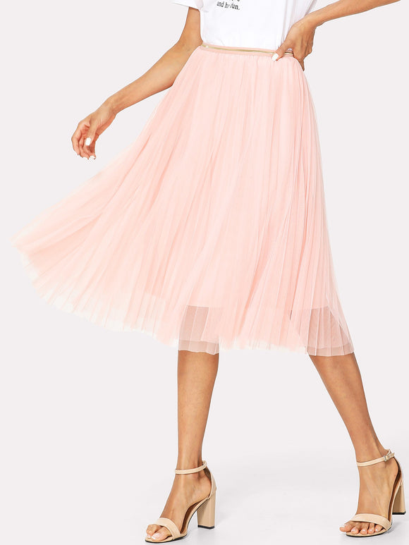 Box Pleated Mesh Skirt - Truly Yours, Fashion