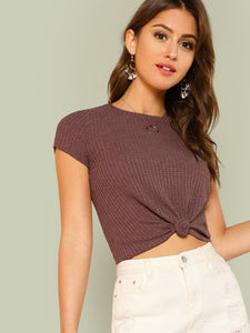 Knot Hem Crop Top - Truly Yours, Fashion