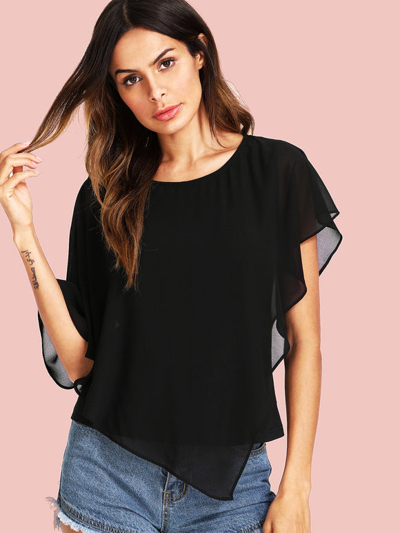 Solid Asymmetrical Chiffon Top