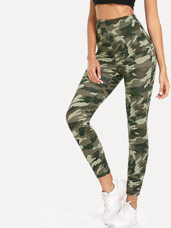 High Waist Camo Print Skinny Leggings - Truly Yours, Fashion
