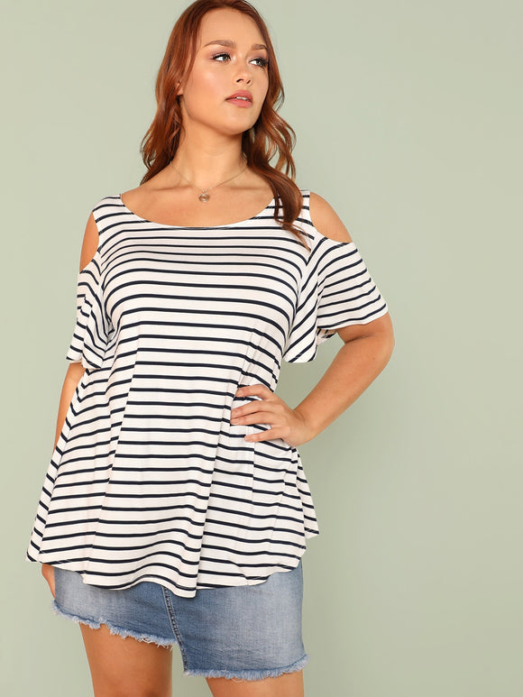 Plus Cold Shoulder Striped Tee