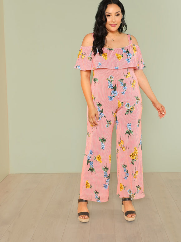 Plus Floral Print Stripe Cold Shoulder Ruffle Jumpsuit