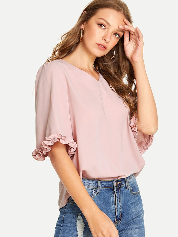 Frill Trim V Neck Solid Blouse - Truly Yours, Fashion
