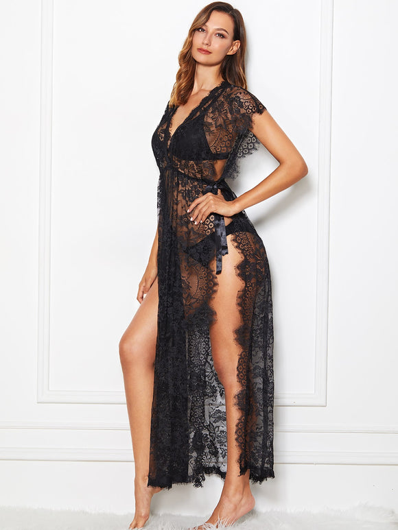 High Split Lace Dress With Thong - Truly Yours, Fashion