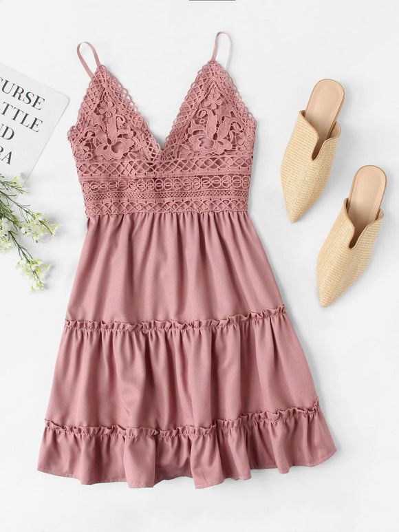 Contrast Lace Knot Back Ruffle Hem Cami Dress