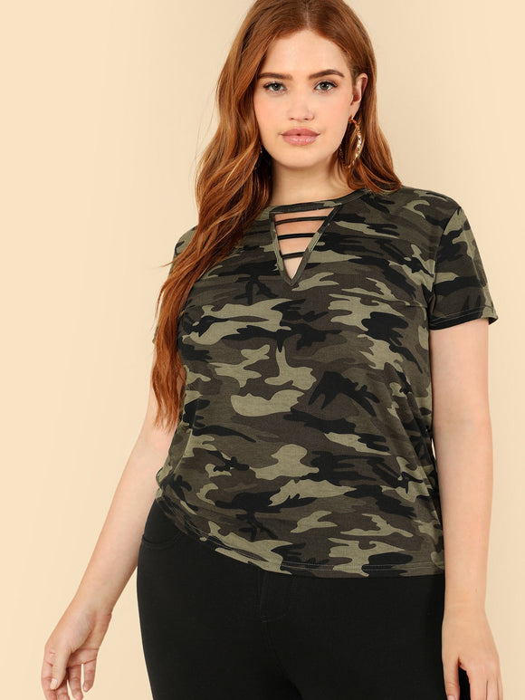 Plus Strappy Neck Camo T-shirt