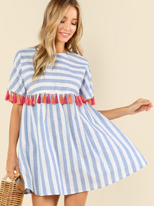 Tassel Embellished Stripe Smock Dress - Truly Yours, Fashion