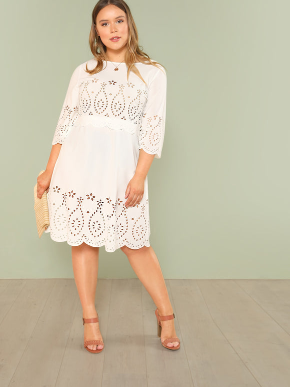 Plus Laser Cut Insert Scalloped Hem Dress