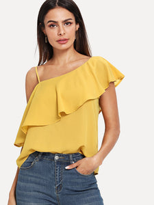 Asymmetrical Neck Ruffle Trim Solid Top - Truly Yours, Fashion