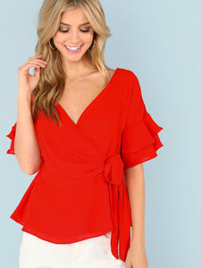 Wrap Blouse with Tiered Sleeves - Truly Yours, Fashion