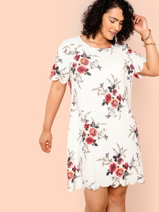 Plus Scallop Edge Flower Dress