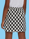 O-Ring Zip Gingham Print A-Line Skirt - Truly Yours, Fashion