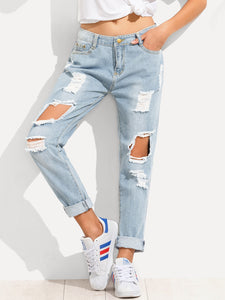 Distressed Boyfriend Jeans - Truly Yours, Fashion