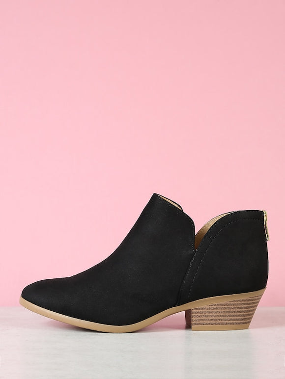 Stacked Block Heel Split Shaft Ankle Boots - Truly Yours, Fashion