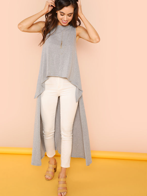 High Low Heathered Knit Top - Truly Yours, Fashion