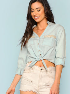 Pearl Embellished Button Front Top - Truly Yours, Fashion