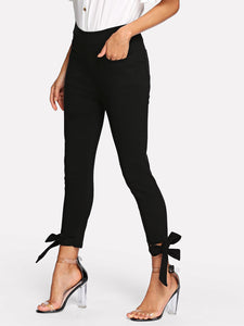 Knot Hem Solid Pants - Truly Yours, Fashion