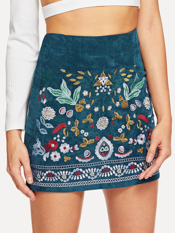 Botanical Embroidered Cord Skirt - Truly Yours, Fashion