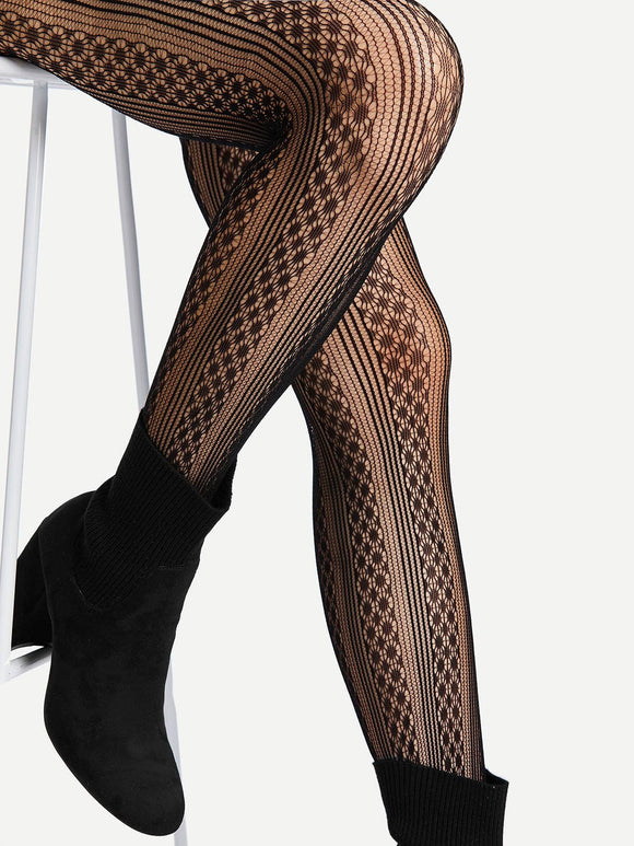 Geometric Pattern Tights - Truly Yours, Fashion