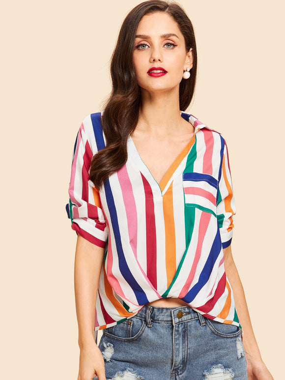 Pocket Front Collar Neck Striped Top