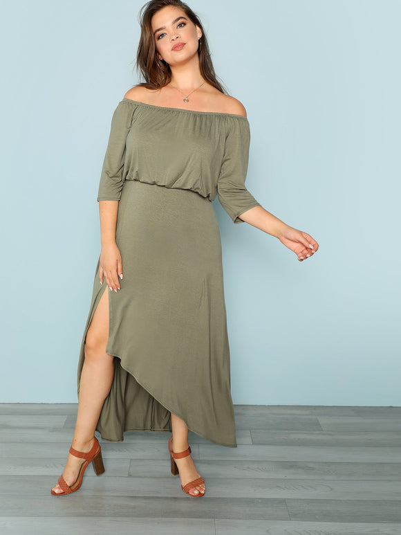 Off The Shoulder Asymmetric Hem Dress - Truly Yours, Fashion