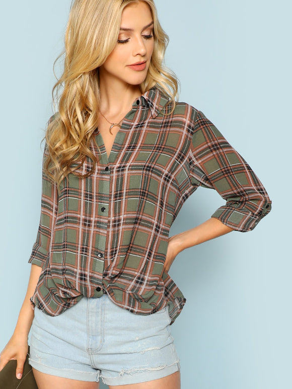 V Cut Back Checkered Blouse - Truly Yours, Fashion