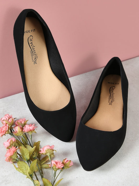 Wide Fit Faux Suede Pointy Toe Ballet Flats - Truly Yours, Fashion