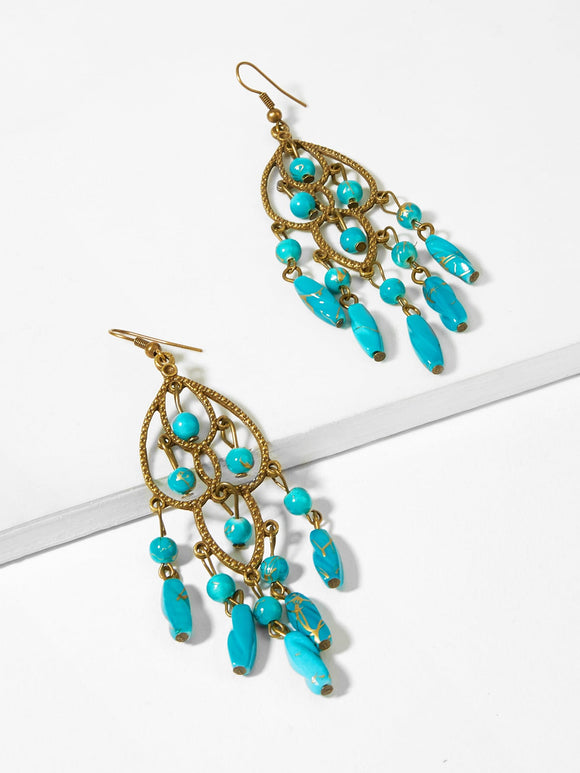Two Tone Bead Decorated Drop Earrings 1pair
