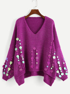 Sequin Applique Step Hem Jumper - Truly Yours, Fashion