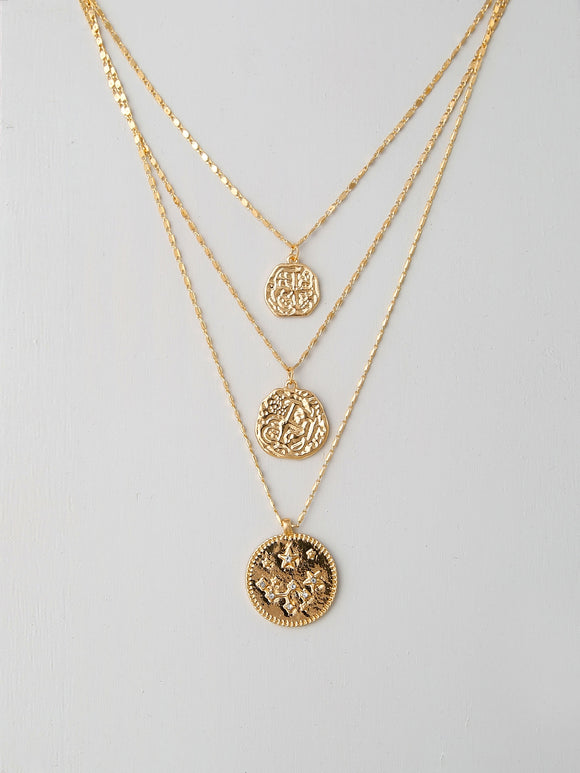 Layered Gold Necklace With Coin Pendants - Truly Yours, Fashion