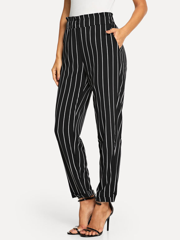 Frill Trim Striped Pants - Truly Yours, Fashion