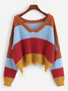 Color Block Raw Hem Sweater - Truly Yours, Fashion