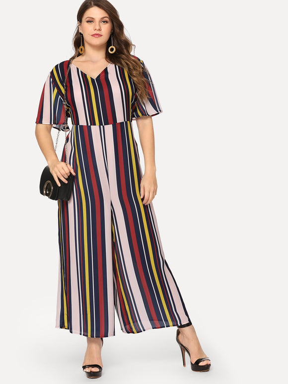 Plus Keyhole Back V-Neck Striped Dress