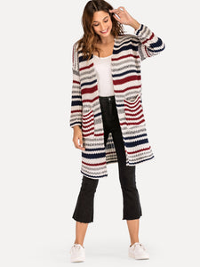 Striped Open Front Pocket Outerwear